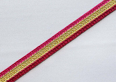 Narrow Sewing Trim With Metallic Gold Center. Red. 3 Yards.
