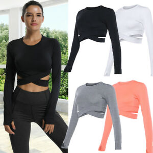 Women-039-s-Sports-Tops-Long-Sleeve-T-Shirt-Fitness-Gym-Yoga-Crop-Top-Activewear-G11