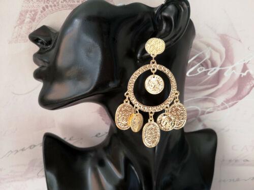 Boho Indian Gorgeous 9cm long gold tone coin charm drop earrings bellydancer
