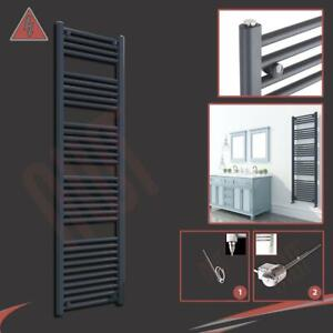 400mm x 1600mm Straight Anthracite 600W Thermostatic Electric Heated Towel Rail