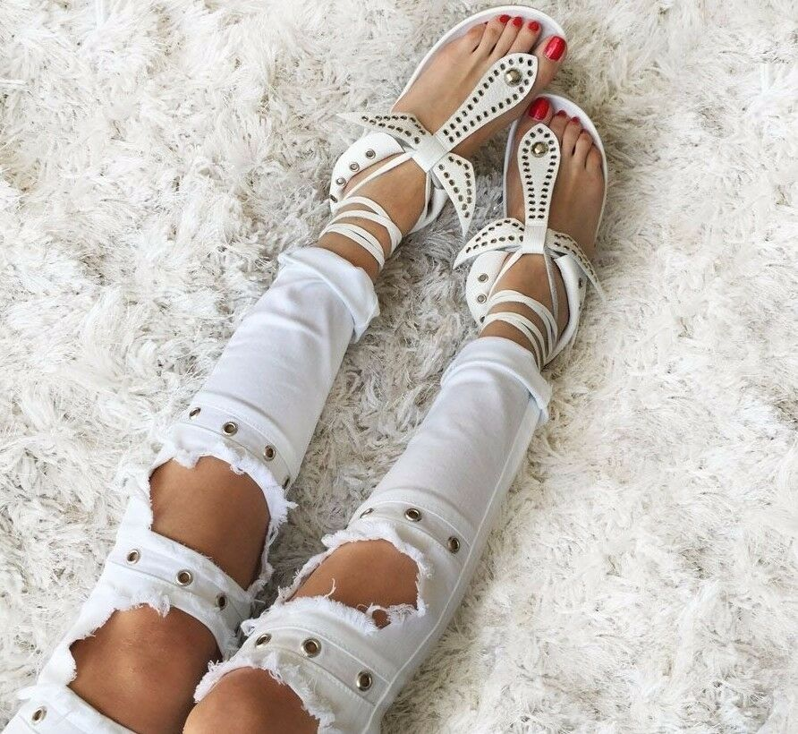 Luxury Celebrity Gladiator Leather White Bow Tie Up Platform Boho Rome Sandals