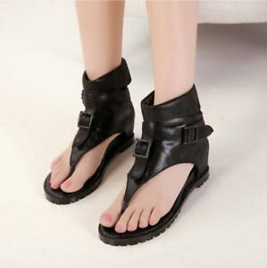 watch 8f3af 54247 Womens Ankle Boots Flip Flops Flats Roman Gladiator Shoes ...