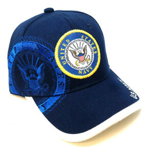 BLUE US UNITED STATES NAVY TEXT LOGO MILITARY HAT CAP CURVED BILL ADJUSTABLE