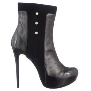 Stiefel Chaussures Italy Perles 3 Bottines Velvet Mori Leather Bottes Noir Black 6EpwxqTH
