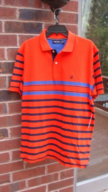 a7c2615f5fa NWT Mens SIZE M Nautica Papaya Orange Blue Stripe Short-Sleeve Polo Shirt