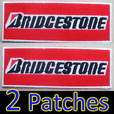 2 X Large Patches Super Red BRIDGESTONE Embroidered Iron on Racing Rally Sport