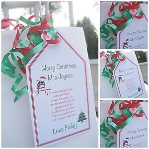 1 x Personalised Christmas Thank You Teacher gift tag gift ...
