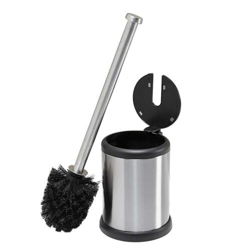 NEW Round Stainless Steel Plastic Compact Toilet Cleaning Canister Brush Set
