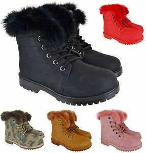 LADIES-WOMENS-ANKLE-FAUX-FUR-LINNED-GRIP-SOLE-COMBAT-ARMY-HIKING-WINTER-BOOTS-SZ
