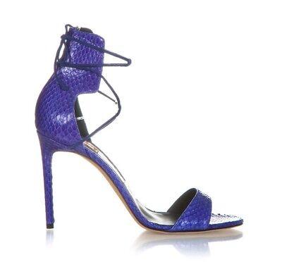 f7ee2a726f3 REED KRAKOFF Heels 39.5 Blue Snakeskin Open Toe Ankle Tie Strap Stiletto  Pumps | eBay