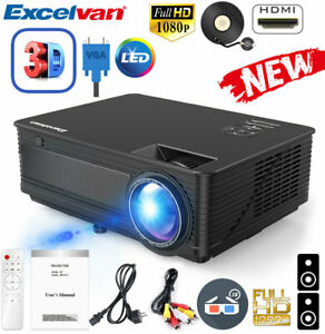 7000Lumens 1080P HD Multimedia LED Projector 3D Home Theater Cinema HDMI USB VGA