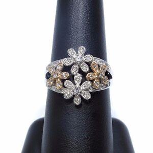 Ladies-14k-White-amp-Rose-Gold-Floral-Design-White-Diamond-Ring-60ct