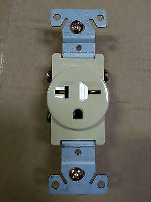1 pc Single Receptacle 20 Amp 20A 250V AC Outlet 2 Pole 3 Wire Ivory