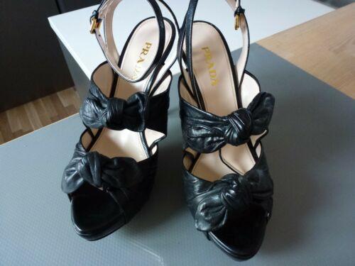 Neu Nib Calzature Donna 5 Higheels 39 Leder Sandale Nero Prada Schwarz Leather XxYAwfq