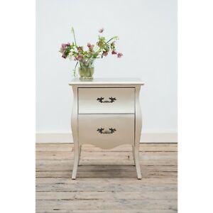 Rococo-Style-Matt-Silver-Storage-Furniture-Bedroom-2-Drawer-Bedside-Side-Table