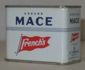 Vintage-French-039-s-Ground-Mace-1-oz-Spice-Tin-can-R-T-French-Co-Rochester-New-York