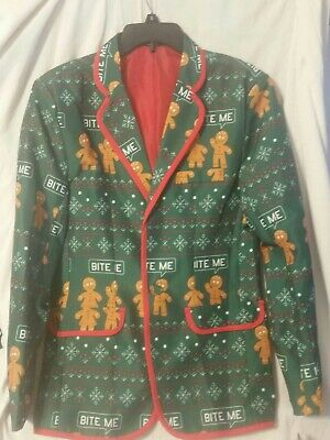 Mens Ugly Christmas green Gingerbread Man suit Jacket NEW Bite Me | eBay