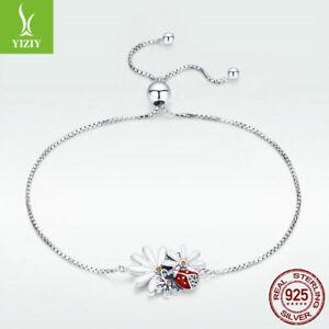 Fine-925-Sterling-Silver-Bracelet-Ladybug-Daisy-Charm-Chain-Crystal-Girl-Jewelry