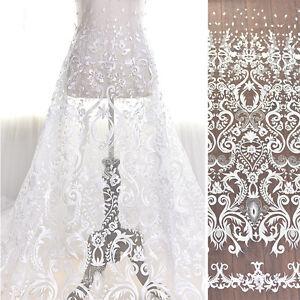 "Retro Luxury embroidery Ivory Lace Fabric Embroidered Tulle Gauze 51"" Bridal"