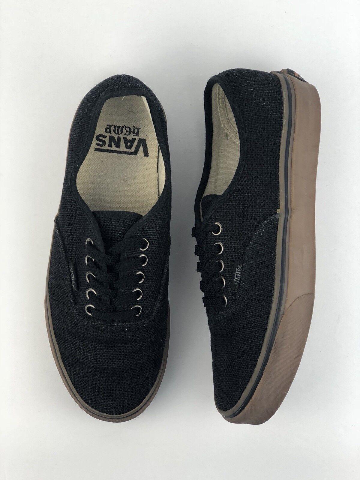 07b3c79a70 RARE Vans Authentic Black Textured Hemp Brown Gum Gum Gum Skate Shoes Men  Sz 7 Women
