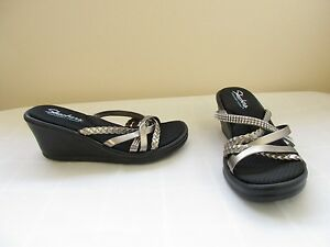 NEW-Women-039-s-Skecher-039-s-Rumblers-Wild-Child-Wedge-Sandals-38566-Pewter-17C