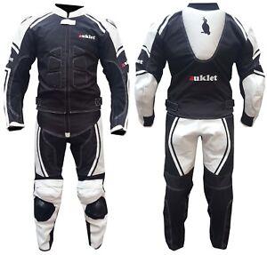 Tuta-Moto-pelle-Tessuto-Divisible-Touring-Sport-Scooter-Con-Protezioni-Rigidi-CE
