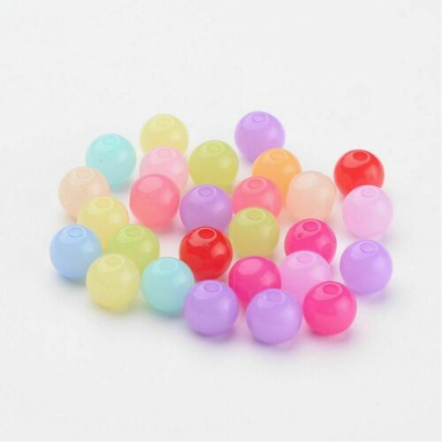 100 Stück Perlen 6 mm Acryl 1,5mm Fädelloch schöne Farben zum Basteln *