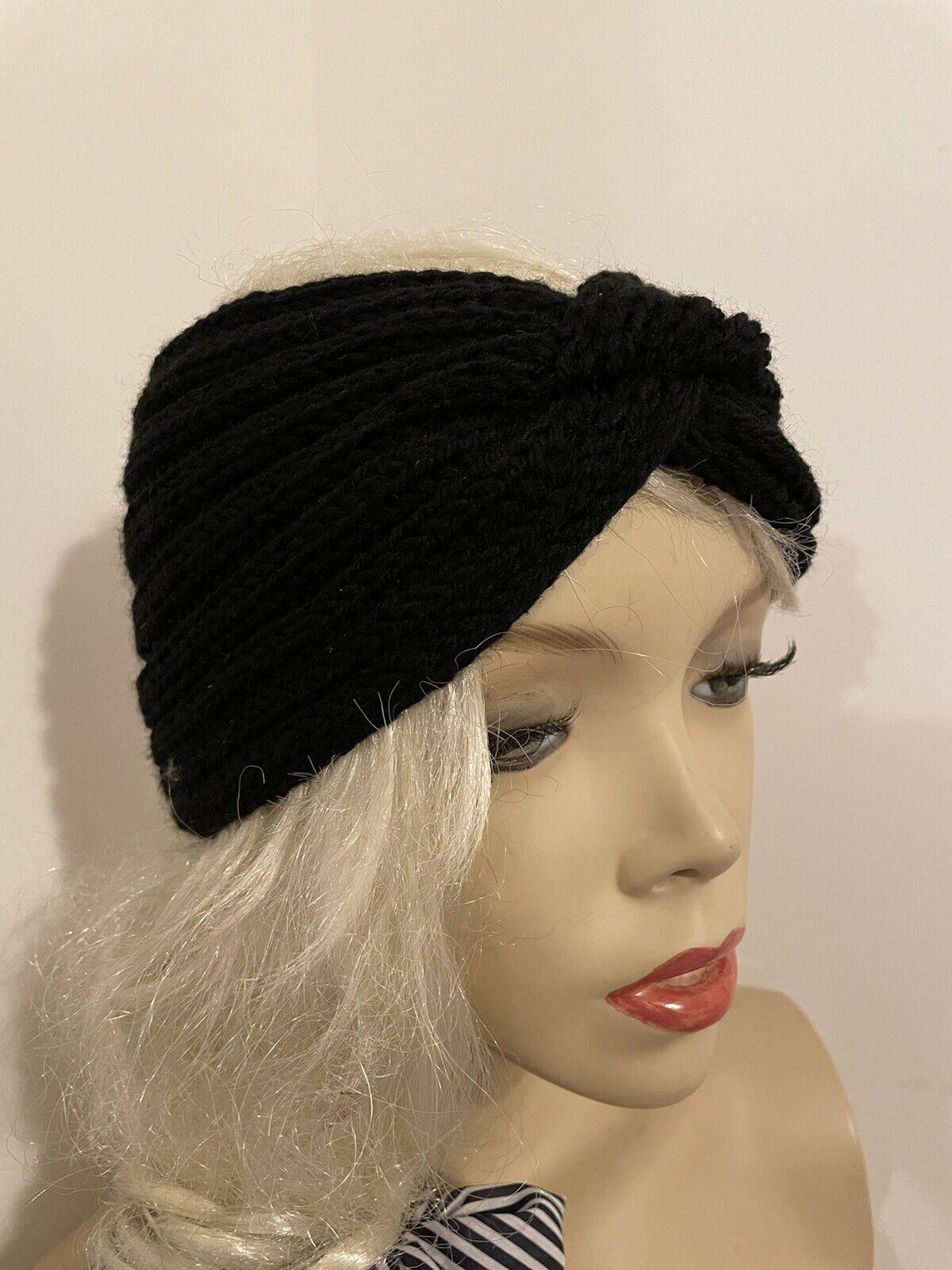 NEW Black Headband Ear warmer Ladies Chunky Wide Knit Wool Gift For Her Women Uk