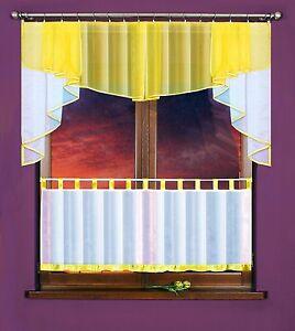 gardinen set vorhang scheibengardine k che fenster wohnung zimmer farbe gelb top ebay. Black Bedroom Furniture Sets. Home Design Ideas
