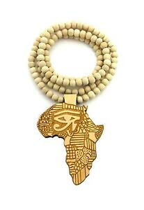 Egyptian eye of horus africa map shape pendant 36 wooden bead image is loading egyptian eye of horus africa map shape pendant aloadofball Choice Image