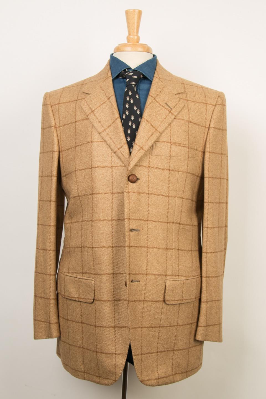 Avi Rossini by d'Avenza Beige Window Pane Cashmere Silk 3 Button Sport Coat 40