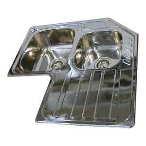 Stainless Steel Double Bowl & Single Drainer Inset Corner Kitchen ...
