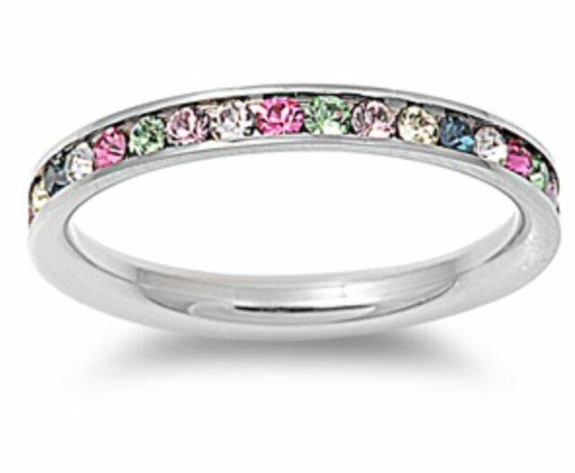 Stainless Steel Love MultiColor Cubic Zirconia Eternity Ring Wedding Band 6