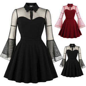 Women-Long-Sleeve-Queen-Dress-Vintage-Punk-Party-Gothic-Rockabilly-Swing-Dresses