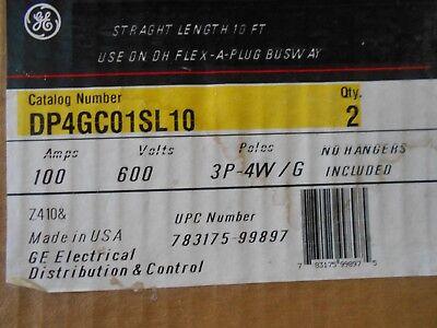 GE DP4GC01SL10 100 AMP 600 VOLT 3-POLE 4-WIRE W//GROUND FLEX-A-PLUG BUSWAY