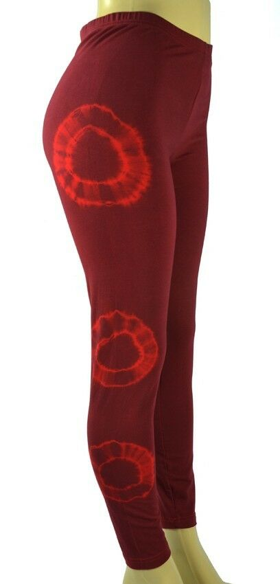 New HAPPY TIE DYE Red WASH 3 Double Circles Leggings XS-XL American Apparel