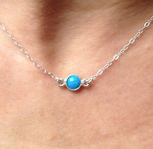 Tiny-Sterling-Silver-REAL-Turquoise-Stone-Necklace-Choker-Petite-amp-elegant