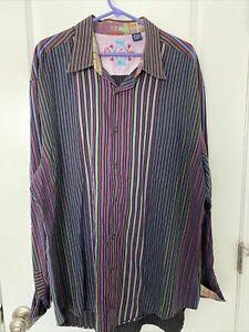 Robert-Graham-Mens-Stripe-Shirt-PLAID-Flip-Cuff-Sz-3XL