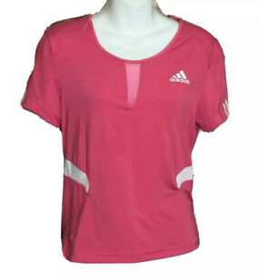 Adidas Womens Clima365 White Pink Athletic T Shirt Top ClimaCool ...