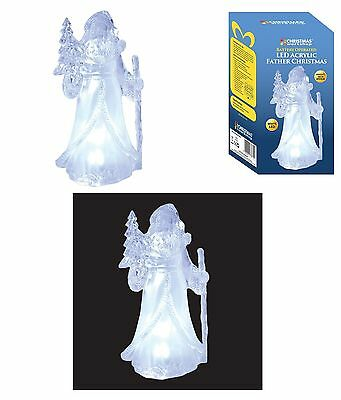 LED Light Up Father Christmas ACRYLIC BATTERY OPERATED XMAS ORNAMENT 73670