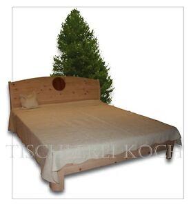 zirben bett massivholzbett aus zirbenholz mit fr sung blume des lebens ebay. Black Bedroom Furniture Sets. Home Design Ideas