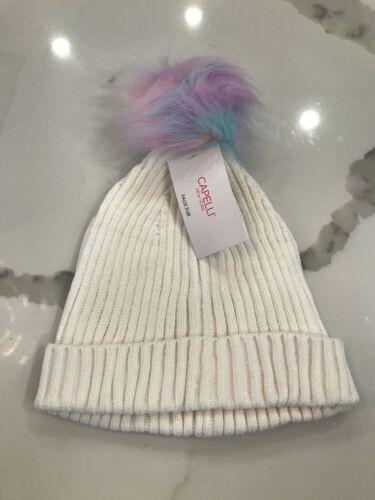 Details about  /NWT Capelli Rainbow Pom Pom Beanie Girls Hat Ivory//White SZ M//L NEW $16