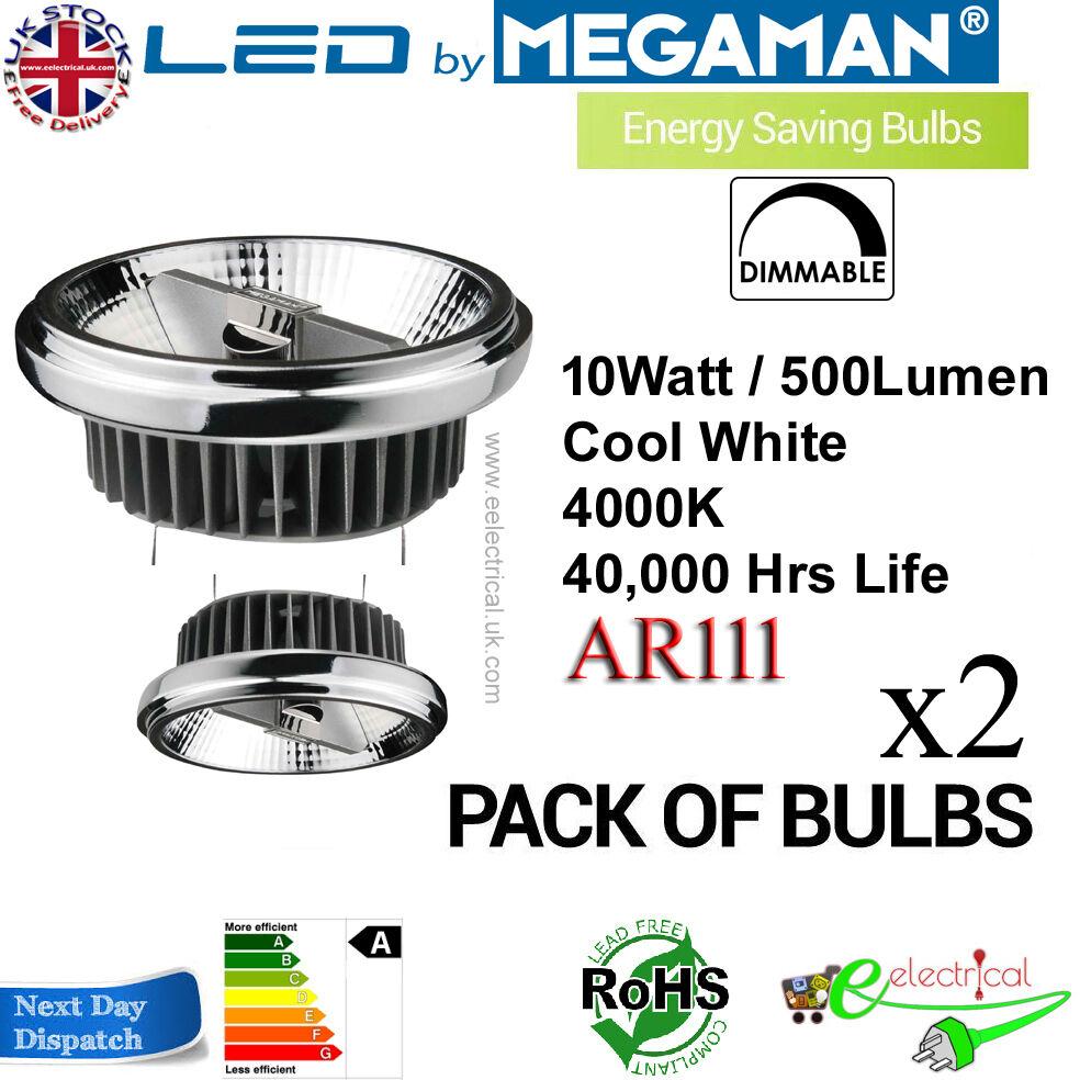 Megaman LED AR111 10W G53 20V Regulable, 8 °, 4000K 141368 ER0210-50H08D