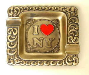 Vintage-I-LOVE-NY-New-York-Brass-Metal-5-Inch-Ashtray-Red-Heart-Made-in-USA