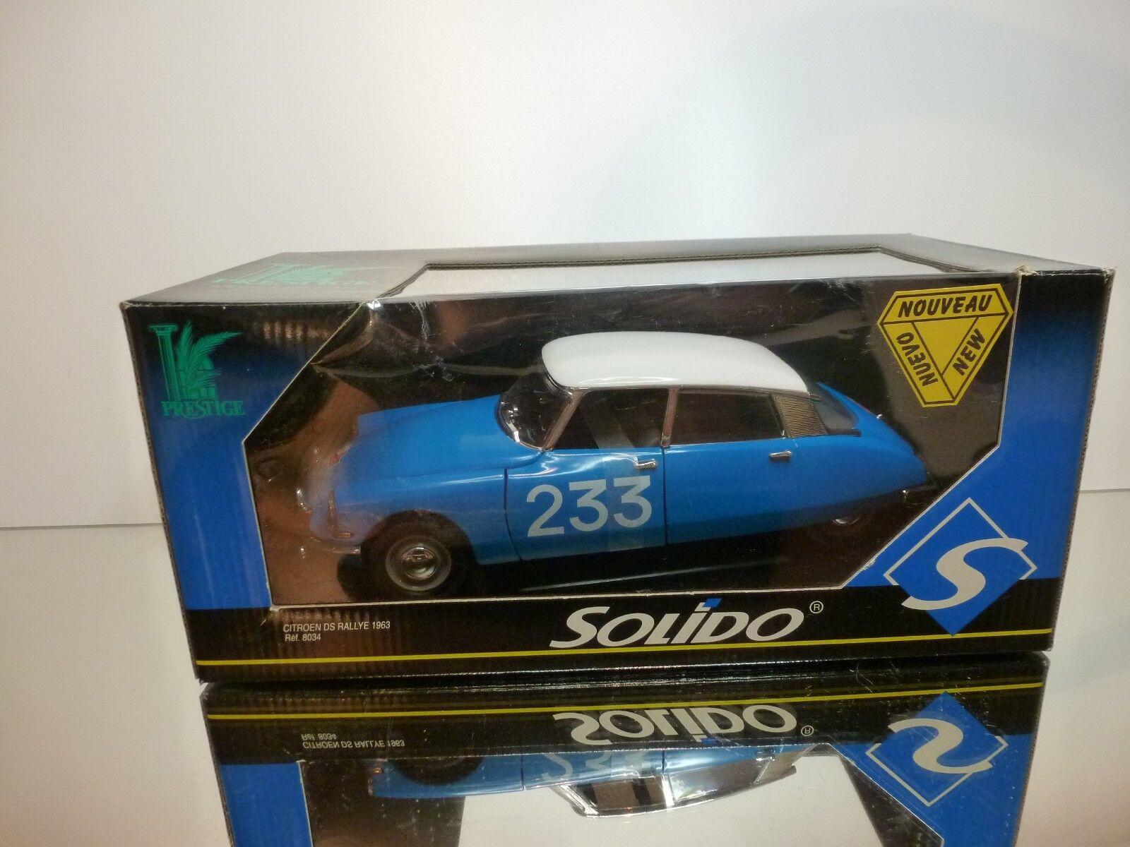 SOLIDO 8034 CITROEN DS RALLYE 1963  233 - azul 1 18 - EXCELLENT IN BOX