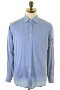 JAGER-Mens-Shirt-Size-42-16-Large-Blue-Cotton