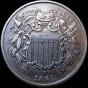 1864-SMALL-MOTTO-Two-Cent-Piece-2cp-Type-Coin-Nice-L-K-D669
