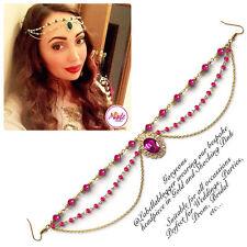 Hijab Pin Wedding Bridal Tikka Hair Bracelet jewellery Head piece gold pink