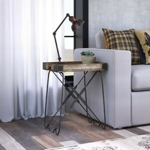 Image Is Loading Vintage Industrial Side Table Small End Furniture Rustic