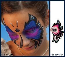 European Body Art Skipper Butterfly Face Paint Stencil Template Airbrush Tattoo